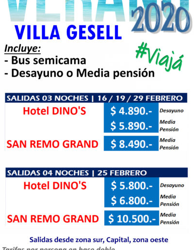 Costa-Gesell 3-4 noches